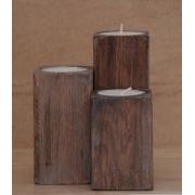 Zestaw 3 świeczników drewnianych