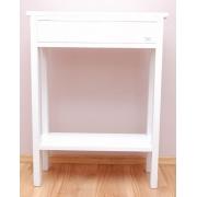 Biała konsola na prostych nogach z półką