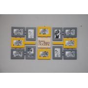 Szaro żółta galeria z typografią