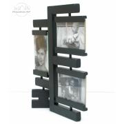 Drewniana ramka na zdjęcie futur na 3 zdjęcia czarna
